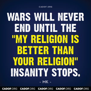 Wars will never end - religion